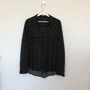 Maurice's Black Printed Blouse Modern Size L